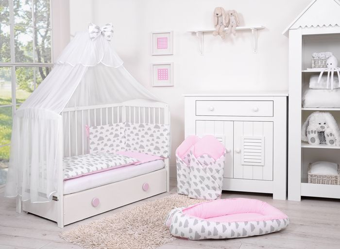 lit bebe complet accessoires collection nuage rose