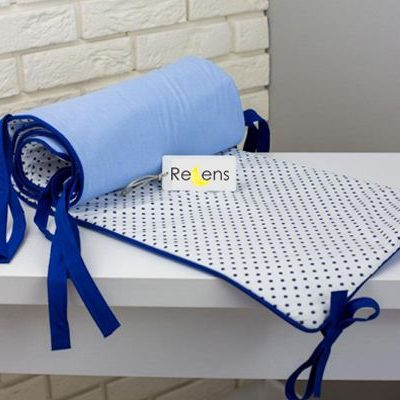 tour de lit bleu pour berceau