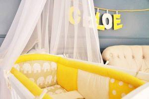 tour de lit pour berceau (jaune)
