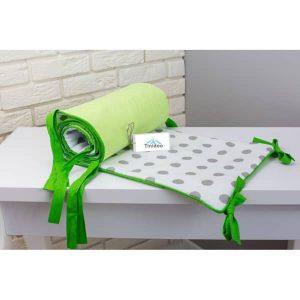 tour de lit vert à points gris pour berceau