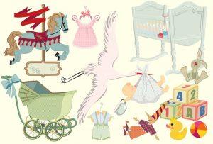 illustration et poster vintage bébé