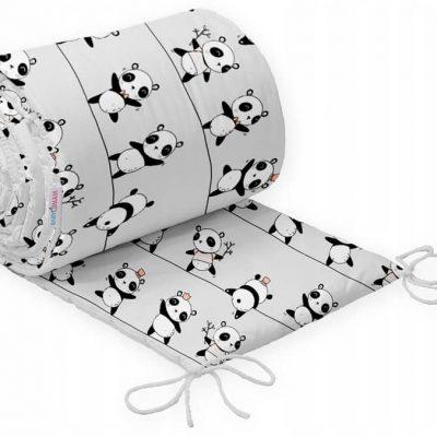tour de lit pour berceau en bois, motif panda