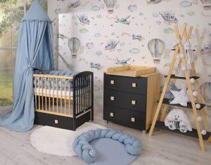 chambre bébé couleurs noir et bleu
