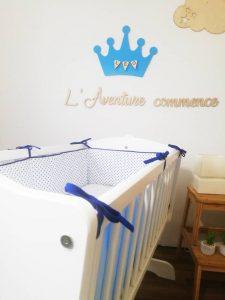 tour de lit bleu pour berceau garçon