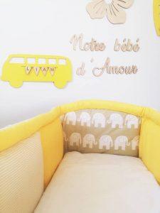 tour de lit pour berceau bébé jaune